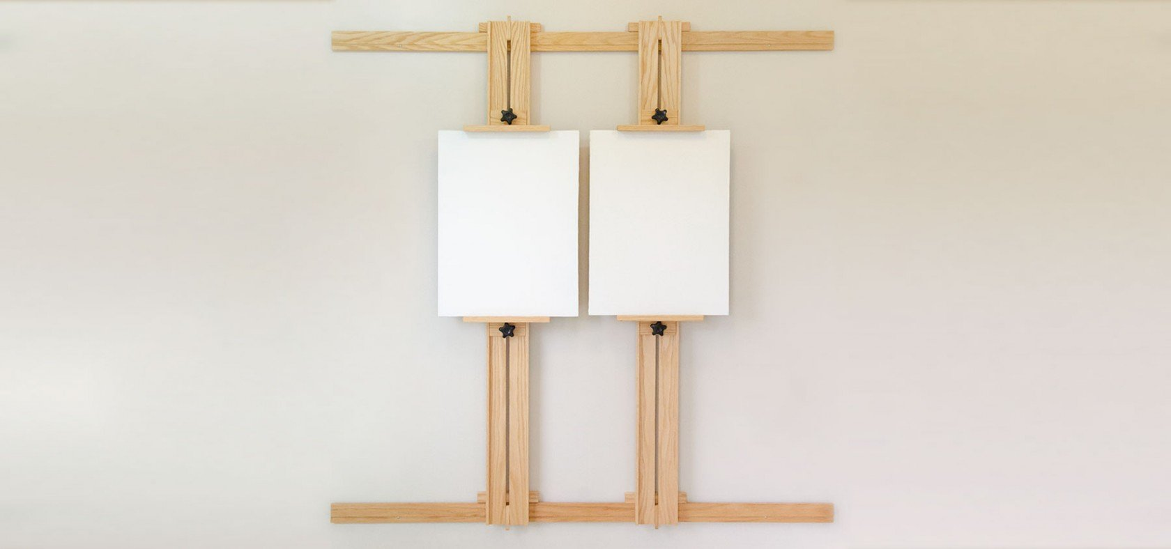 Showcase 66 Inch Wall Easel with Two Canvases